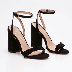 Ann Taylor Loft Leaf Suede Block Heel Sandals